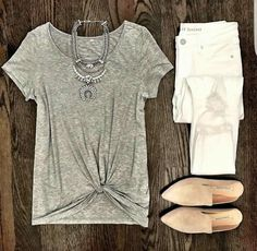 >>>Cheap Sale OFF! >>>Visit>> IG MrsCasual <click through to shop this look> Gray twist front pre knotted tee the best white skinny jeans gray suede mule slide flats Mode Outfits, Casual Outfits, Summer Outfits, Fashion Outfits, Womens Fashion, Jeans Fashion, Summer Fashions, Club Outfits, Jean Outfits