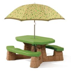 The Step2 Naturally Playful Picnic Table with Umbrella is perfect choice for indoor or outdoor use.  It features a large and easy to clean table top.  The umbrella blocks 97.5% of UVA and UVB rays (UPF rating of 40+).