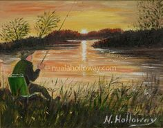 """Fishing at Sunset"" by Nuala Holloway - Oil on Board #Landscape #IrishArt #Fishing #Sunset"
