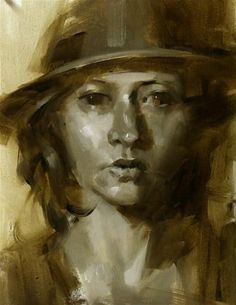 """Daily Paintworks - """"Head Study 052015"""" - Original Fine Art for Sale - © Qiang Huang"""