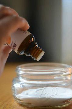 DIY Mason Jar Baking Soda Air Freshener - use coffee filter and band and keep it in the car, fridge, bathroom, pantry, etc