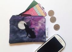Coin Purse Wolf Moon Purple and Black Credit Card by BeesAttic