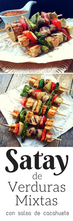 Vegan Satay with Peanut Sauce Colorful veggies marinated in coconut milk. curry and lime then skewered and grilled. Serve with a sweet-spicy peanut sauce for a great vegan appetizer. Grilling Recipes, Veggie Recipes, Whole Food Recipes, Cooking Recipes, Grilled Tofu Recipes, Vegan Vegetarian, Vegetarian Recipes, Healthy Recipes, Vegan Appetizers