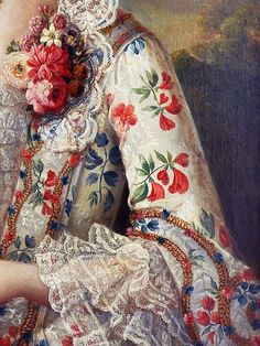 Portrait of a lady with her dog, detail, by Francois Hubert Drouais (1727-1775).