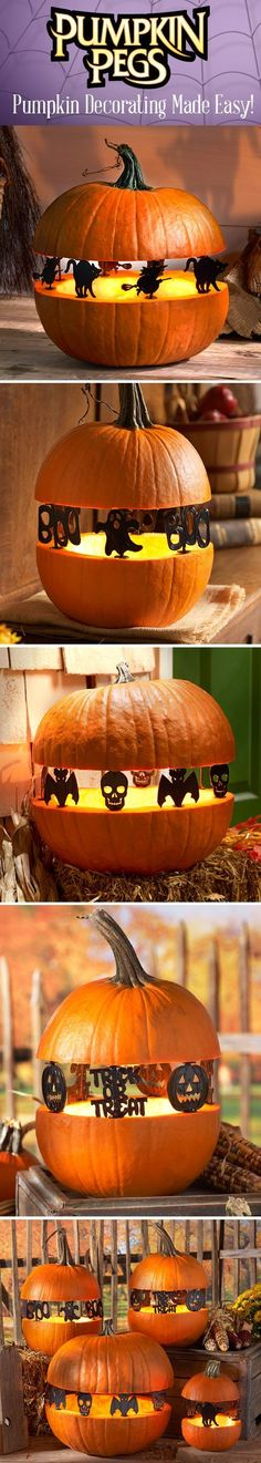 """Create """"Spook-tacular"""" silhouettes with Skull/Bat Pumpkin Pegs™. They are reusable and fun!"""