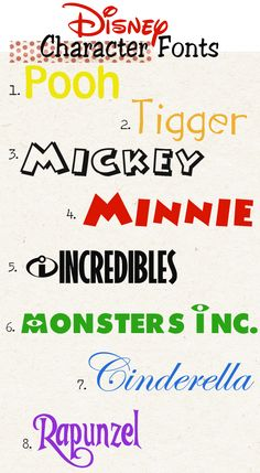 More free Disney fonts.
