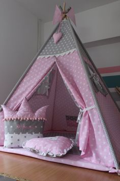A beautiful tent with two windows, pink, gray, will add charm to any interior and will become an ideal hideout for child… – playhouse isimisi Childrens Teepee, Kids Teepee Tent, Teepees, Recycled Furniture, Kids Furniture, Bedroom Themes, Girls Bedroom, Baby Sewing, Girl Room