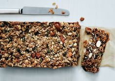 Nutty Grain and Oat Bars - Makes 16 Slices   Bon Appétit January 2014 NOTE: use amaranth or sesame seeds...