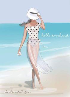 Hello Weekend Collecting Shells - Beach Art - Motivational Art for Women - Heather Stillufsen - Cards, art prints - Rose Hill Designs/ Heather Stillufsen - Hello Weekend, Happy Weekend, Bonjour Week-end, Illustrations, Illustration Art, Art Plage, Megan Hess, Shell Beach, Beach Art