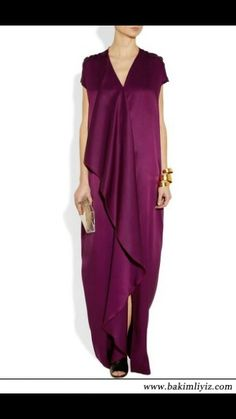 Plum silk-satin Draped front panel, burgundy side seam piping, front split Slips on silk Dry clean Modest Fashion, Hijab Fashion, Kaftan Pattern, Drape Maxi Dress, Look 2018, Couture, Satin Dresses, Silk Satin, Dress To Impress