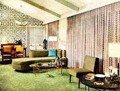 1950s tv room patterned couch vintage interior design photo