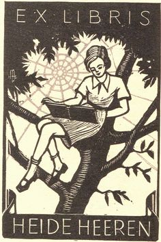 Hans-Michael Bungter / bookplate for Heide Heeren depicts girl in tree reading a. Ex Libris, Graphic Design Illustration, Illustration Art, Book Images, Wood Engraving, Vintage Books, Line Art, Printmaking, Screen Printing