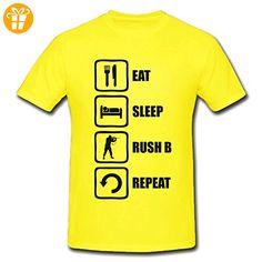 Eat Sleep Rush B Repeat Funny Black Meme Graphic Men's T-Shirt Medium (*Partner-Link)