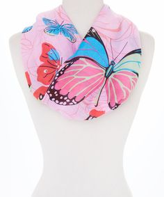 This Pink Butterfly Infinity Scarf is perfect! #zulilyfinds
