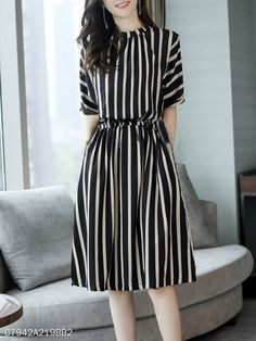 Round Neck Striped Skater Dress Fashion girls, party dresses long dress for short Women, casual summer outfit ideas, party dresses Fashion Trends, Latest Fashion # Stylish Dresses, Simple Dresses, Cute Dresses, Casual Dresses, Maxi Dresses, Cheap Dresses, Ladies Dresses, Simple Dress Casual, Stylish Clothes