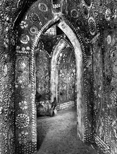 shell grotto, UK. An ancient underground passage covered in shells.