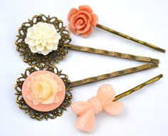 Items similar to Mother day,Salmon nude cream,resin flower bobby pin,bow shabby head Woman accessories hair rose mum bridesmaids wedding vintage filigree on Etsy Bobby Pins, Hair Accessories, Nude, Trending Outfits, Unique Jewelry, Handmade Gifts, Flowers, Etsy, Vintage
