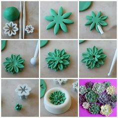Fondant or clay! Wilton fondant tools work great with clay! Fondant Flower Tutorial, Fondant Flowers, Sugar Flowers, Fondant Rose, Fondant Baby, Fondant Cakes, Wilton Fondant, Fondant Toppers, Fondant Flower Cupcakes