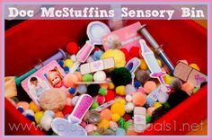 "Doc McStuffins Sensory bin-   So fun!! Pom pom ""medicine"", small medicine cups, dr tools, dr mask, small stuffed animals to care for, printable magnets for magnet tray."