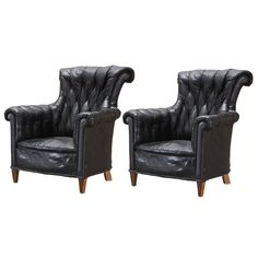 1stdibs | English Black Leather Wingback Chairs