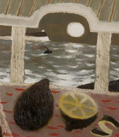 'Lemons by Moonlight' (1980) by British artist Mary Fedden (1915-2012). Oil on panel, 9.75 x 9 in. via Portland Gallery
