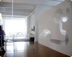 Contemporary mural design in silver leaf