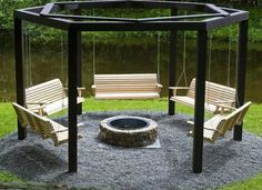 This with two swings and a curved stone wall on opposite side