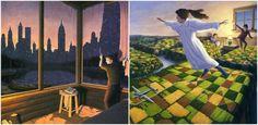Картины Гонсалвеса — это всегда волшебное объединение миров, незаметные метаморфозы, перетекание объектов из одной ипостаси в другую.