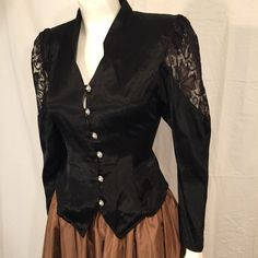 Vintage Black Satin and Lace Victorian Style Long Sleeve Shirt Blondie and Me 80s Eighties 5 6 Extra Small XS Steampunk Pearl Button US Made by CarolinaThriftChick on Etsy