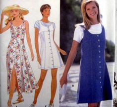 SIMPLICITY SEWING PATTERN - 9614 18,20,22 JUMPER SUNDRESS BUTTON FRONT
