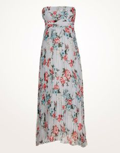 floral chiffon maxi dress | You are here: Home > Floral Print Blue Strapless Chiffon Maxi Dress