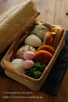 Rice Balls in the Bamboo Basket|Japanese Onigiri Bento おにぎり弁当