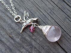 Silver Hummingbird Bird Pink Rose Quartz Wire Wrap by LuvAlisa, $22.00
