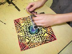5th Grade Printmaking by Paintbrush Rocket, via Flickr