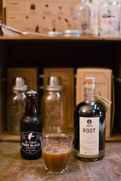1 part ROOT liqueur, 1 part simple syrup, top with La Colombe cold brew iced coffee, almond milk to taste.