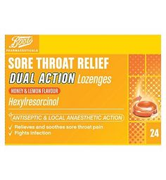 #Boots Pharmaceuticals Boots Sore Throat Relief Dual Action Lozenges #8 Advantage card points. Local anaesthetic. Helps fight infection, effective relief from sore throat pain.See details below, always read the labelSuitbale for: Adults and children over 6 years of ageActive ingredeients: Hexylresorcinol FREE Delivery on orders over 45 GBP. (Barcode EAN=5000167078121)