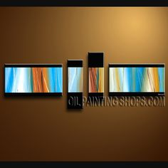 Colorful Contemporary Wall Art Artist Oil Painting For Bed Room Abstract. This 4 panels canvas wall art is hand painted by A.Qiang, instock - $155. To see more, visit OilPaintingShops.com