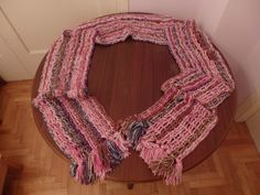 Extra Large Multicolour Yarn Crochet Scarf (White-Pink-Fuchsia-Blue-Brown) by DigenisFashionShop on Etsy