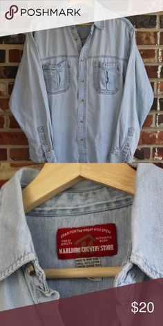 Vintage Marlboro Country Store Denim Button-up Great condition 8/10  All sales final. Please contact with any questions or offers! Marlboro Country Store Shirts Casual Button Down Shirts