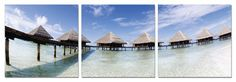 Who doesn't want a thatched roof hut in the Maldives? Can we say: second home? $220 Available in 3 sizes. Elementem Photography, triptych, home decor, photo prints on wood, Maldives, beach, beachfront, vacation, water, ocean, sea