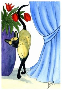 """Siamese Cat & Tulips""  by the artist Dianne Heap"