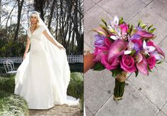 Ramo de calas, rosas y fressias fucsia para un vestido de Higar Novias 2013 #bodas #ramosdenovia