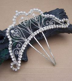 Vintage hair comb Anglo Indian silver tone by ElrondsEmporium