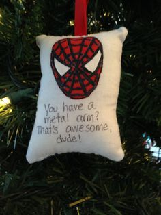 """Spiderman """"You Have a Metal Arm?"""" Christmas Ornament Marvel Spidey Super Hero…"""