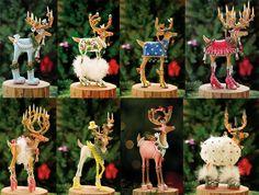 Patience Brewster Krinkles Dash Away 8 Santa Reindeer Christmas Ornament Set New