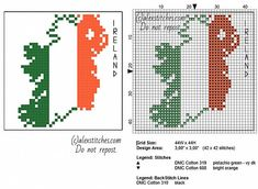 Coaster idea Ireland map with flag colors red white and green free cross stitch pattern size 44 x 44 - free cross stitch patterns by Alex Celtic Cross Stitch, Counted Cross Stitch Patterns, Cross Stitch Charts, Cross Stitch Designs, Cross Stitch Embroidery, Ireland Map, Back Stitch, Stitch 2, Stitch Lines