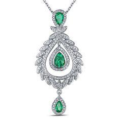 Lady Pendentif or blanc Emeraude Diamant