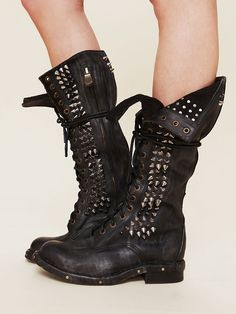 *BOOTS* INSPIRATION: Black Leather/Faux Leather Studded Lace Up Slouchy Combat Boot
