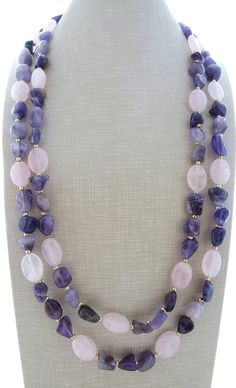 Amethyst necklace chunky necklace purple stone necklace