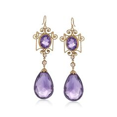 C. 1980 Vintage 78.00 ct. t.w. Amethyst and .50 ct. t.w. Diamond Earrings in 10kt White Gold